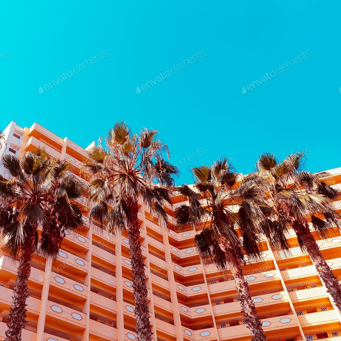 Palms background  and hotel. Minimal. Stylish tropical urban