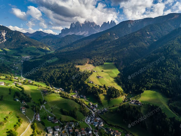 Santa Maddalena village in front of the Geisler, Val di Funes, Italy, Europe