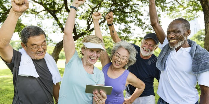 Group of Senior Retirement Friends Activity Concept