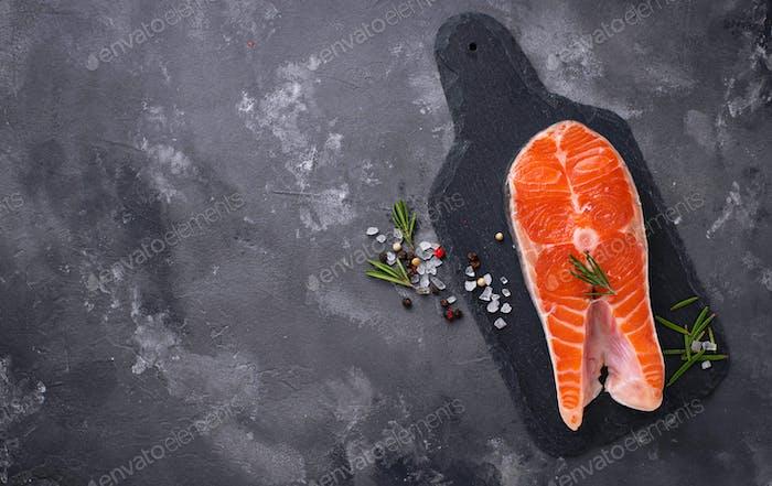 Fresh salmon steak with spices