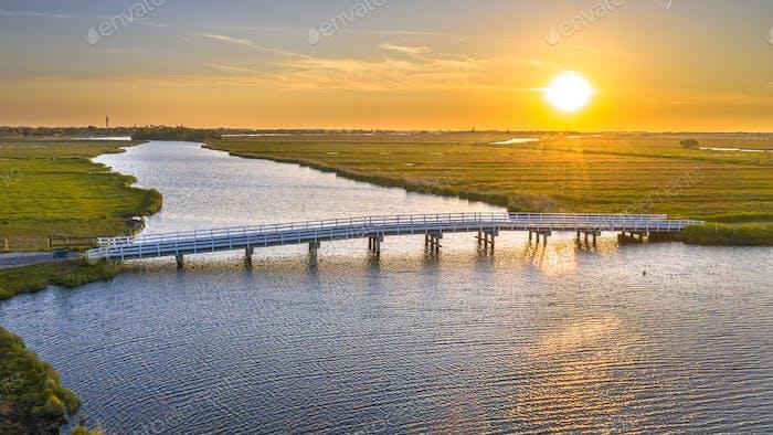 Long wooden bridge
