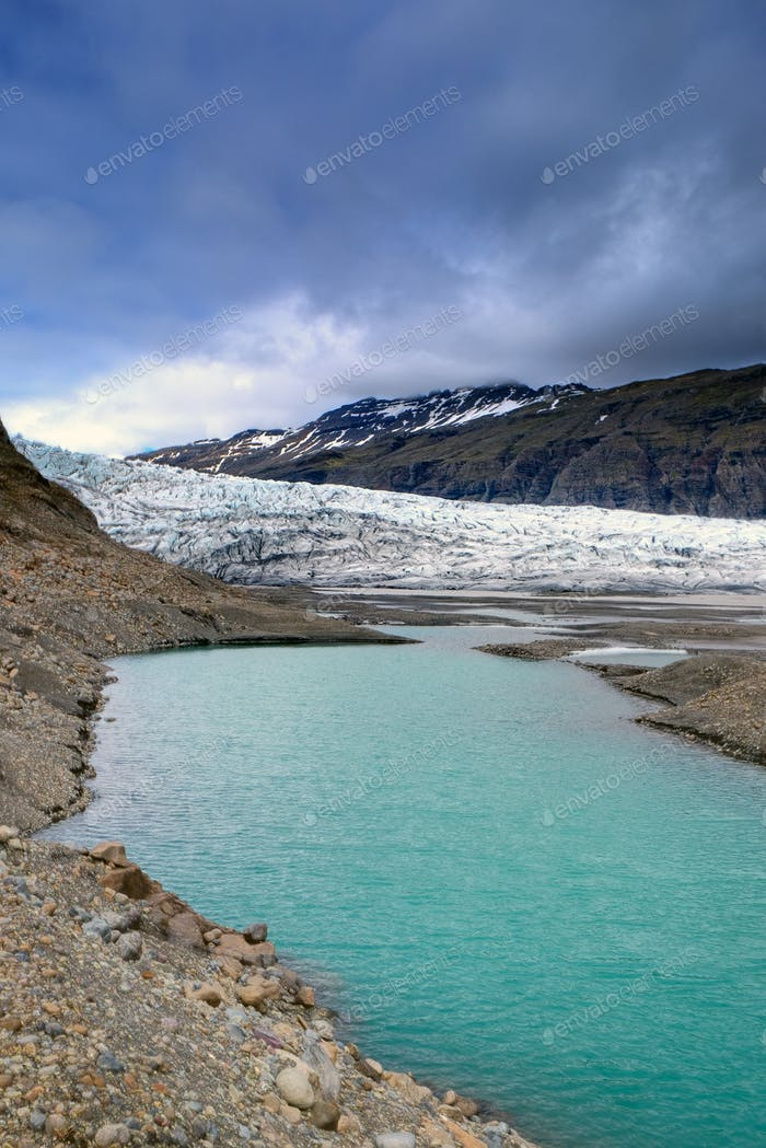 Glacier and lake in Iceland
