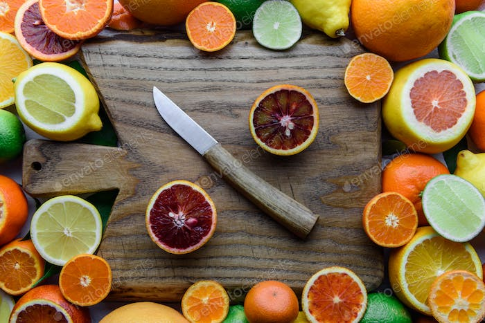 Mix of different citrus fruits closeup