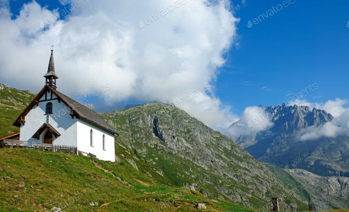 Landscape with church in the alps