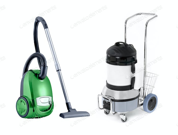 modern with vintage vacuum cleaner