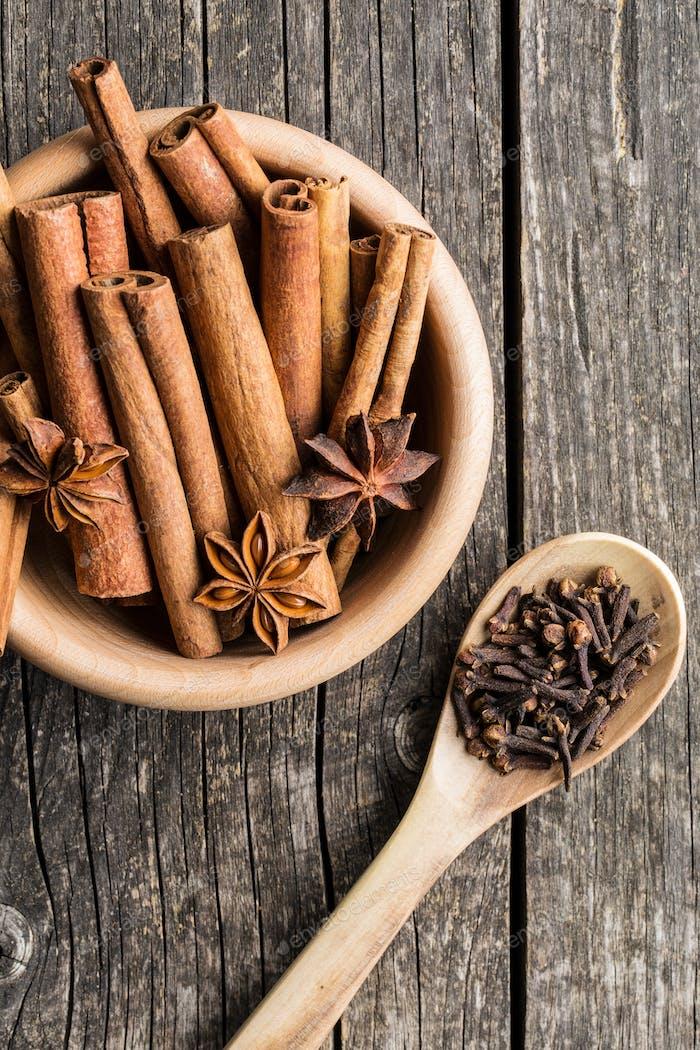 Cinnamon, clove and anise star.