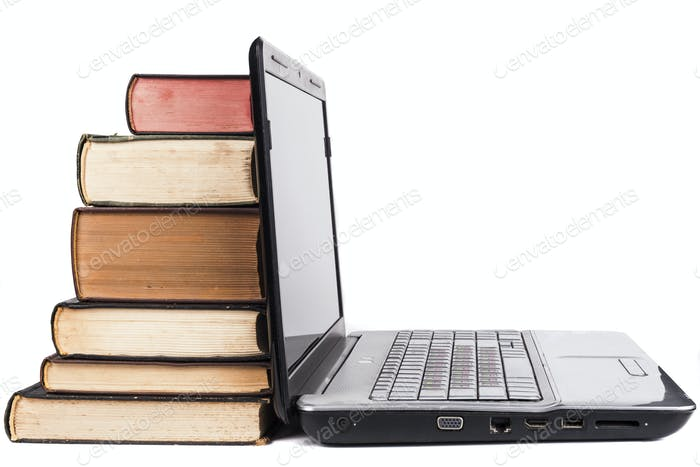 Old Books And Laptop
