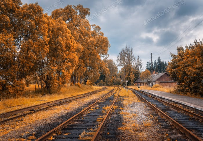 Rural railway station in autumn in cloudy day. Industrial