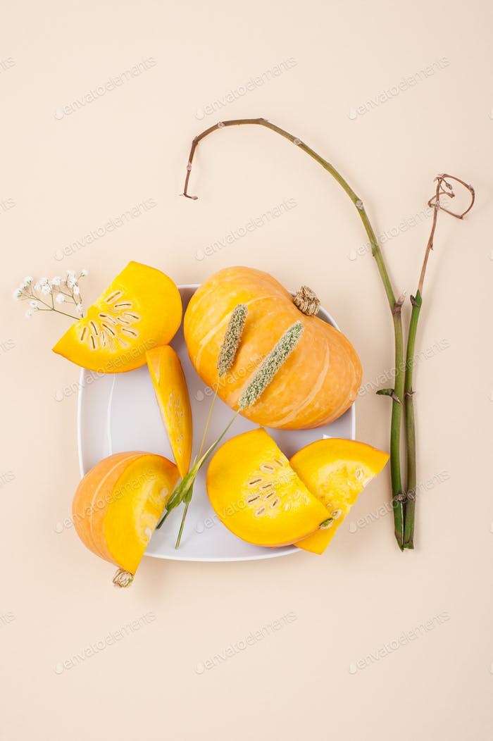 Fresh orange cut pumpkin and dried herbs on a light beige pastel