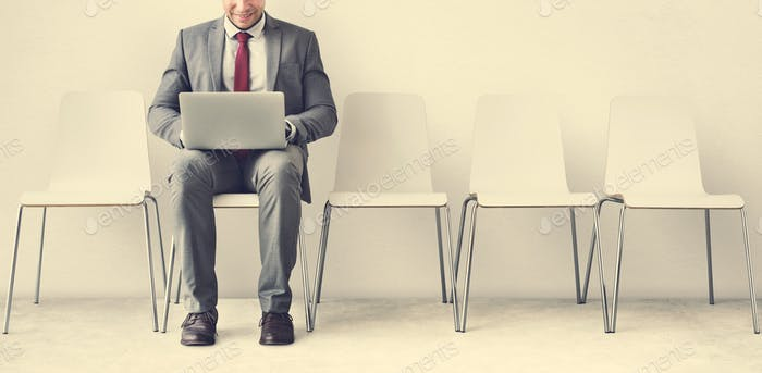 Businessman Using Laptop Connection Communication Concept