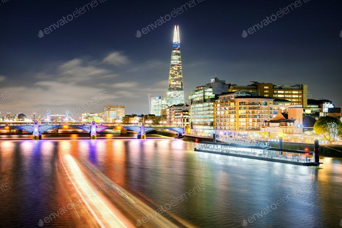 London at night at Thames river, United Kingdom