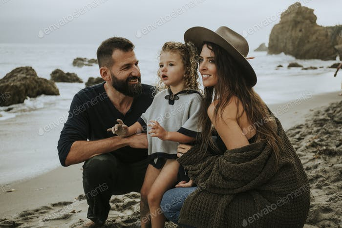 Happy family at a beach