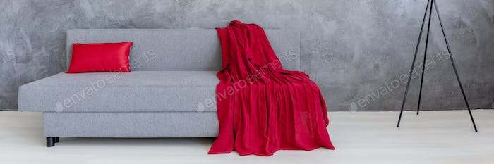 Grey sofa with red blanket