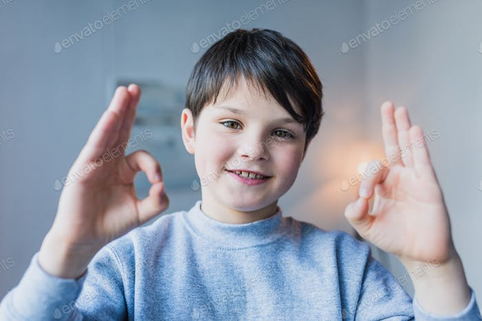 Cute little boy showing ok sign and smiling at camera