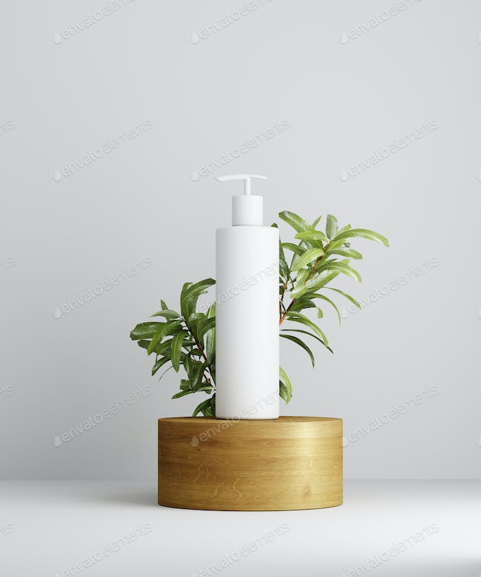 3D illustration geometric pedestal with cosmetic bottle presentation and leaves.