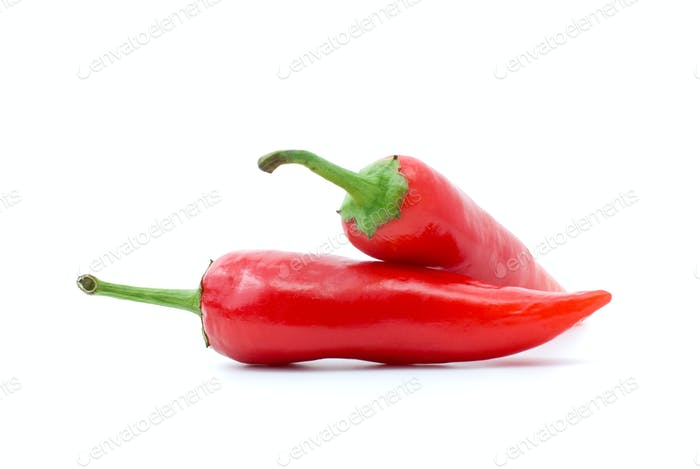 Pair of red hot peppers