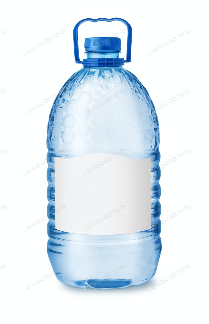 Front view of big plastic water bottle with blank label