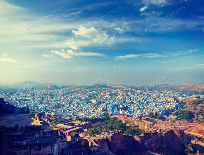 Aerial panorama of the blue city Jodhpur. India