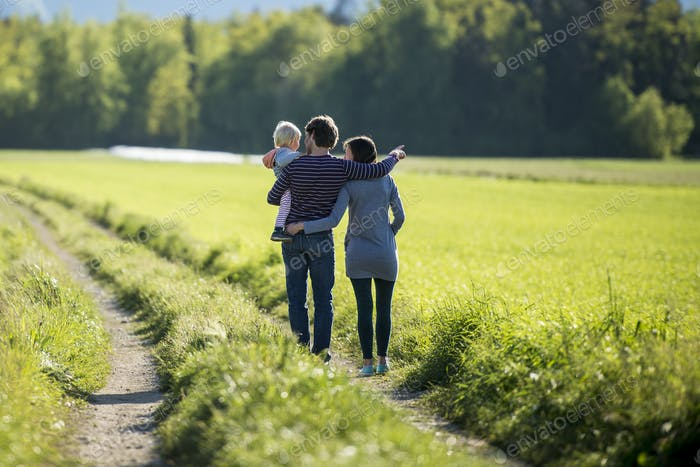 Young family on a country road