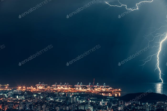 Lightning over night city