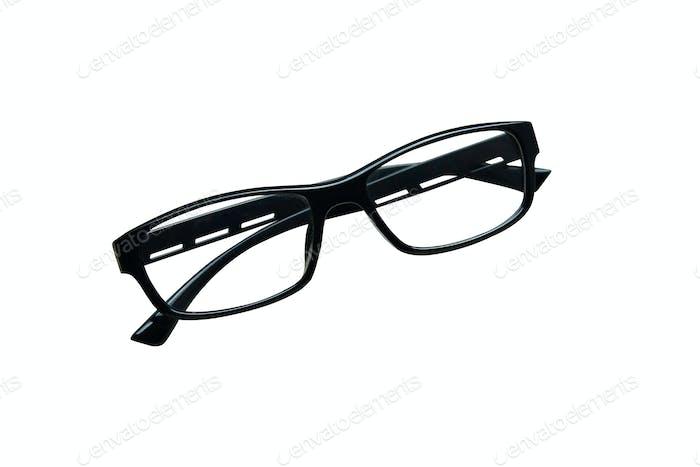 Black frame eyeglasses isolated.