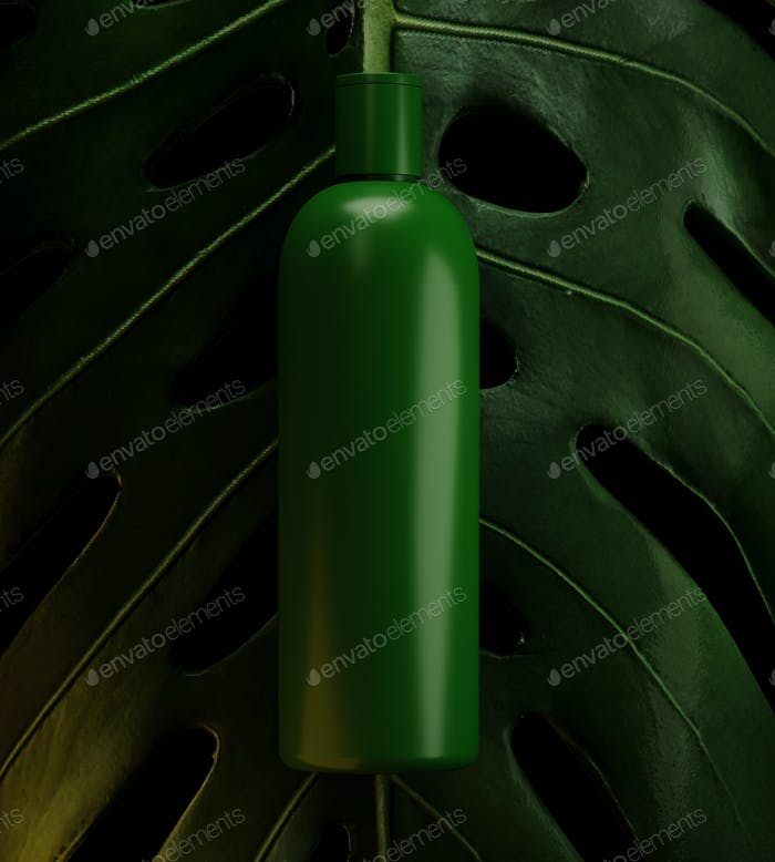 Design of natural cosmetic cream , serum, skincare blank bottle packaging with leaves herb