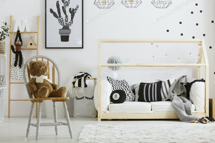 Boy bedroom with house bed