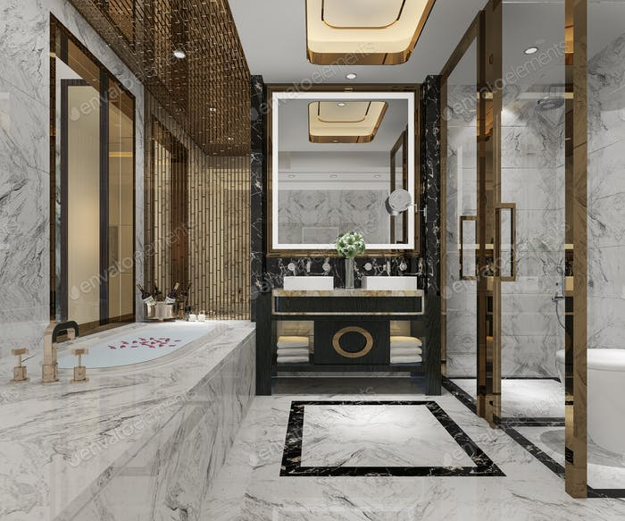 3d rendering luxury modern design bathroom and toilet