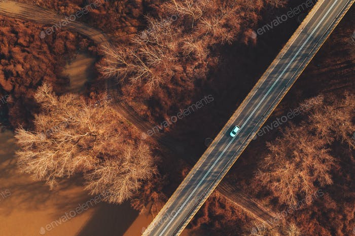 Car on the bridge over river, aerial photography