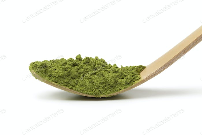 Japanese bamboo matcha spoon with green tea