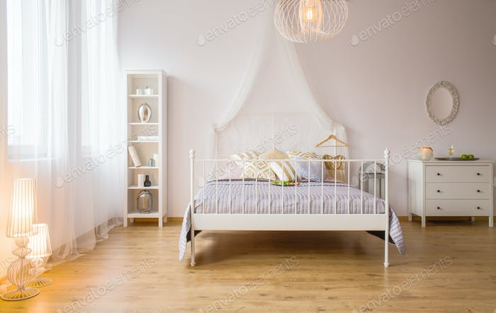 Double bed and decorative lighting