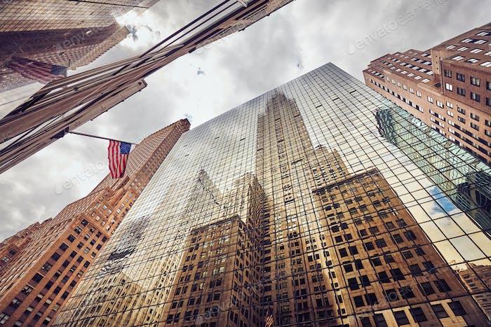 Blick auf New York City Wolkenkratzer, USA.