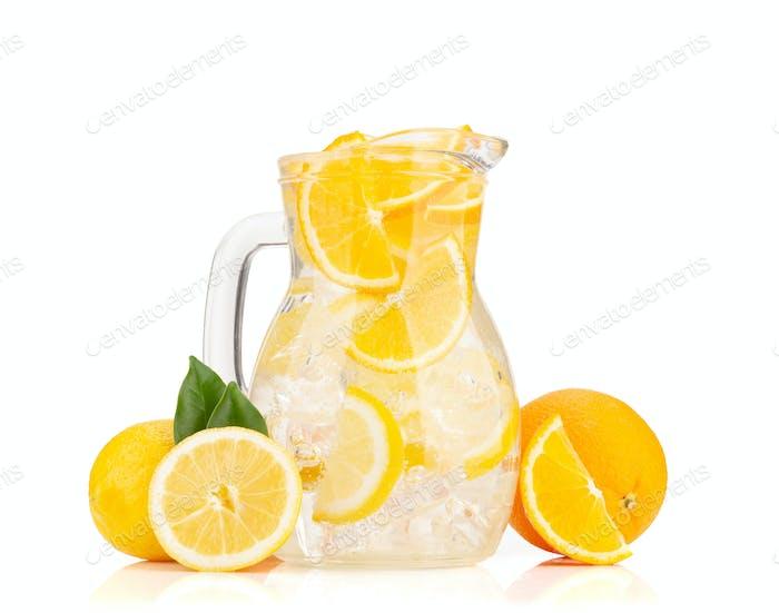 Fresh lemonade glass pitcher