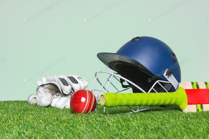 Cricket-Ausrüstung auf Gras