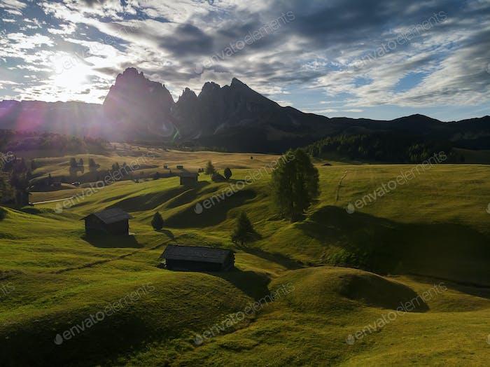 Sunrise at the Alpe de Siusi, Dolomites Alps, South Tyrol, Italy, Europe.