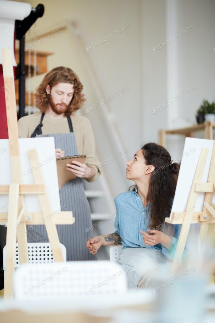Discussion in studio