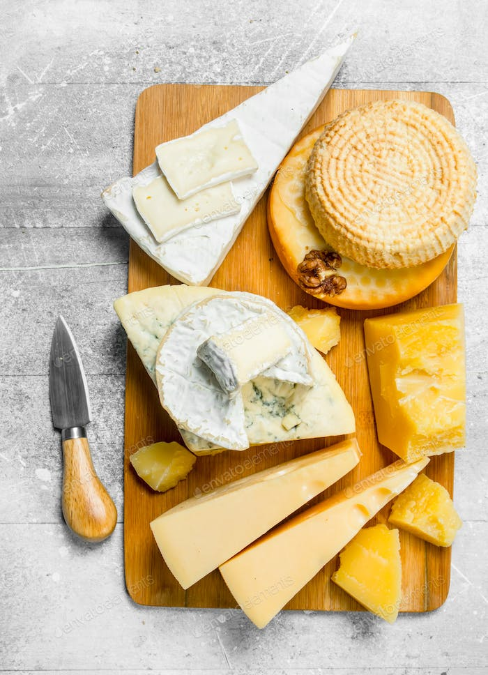 Assortment of different cheeses.