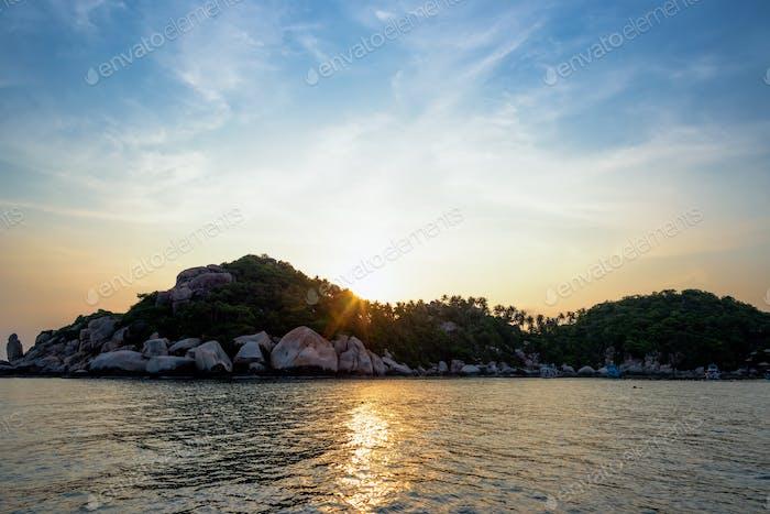 Sunset at Buddha Point in Ko Tao island