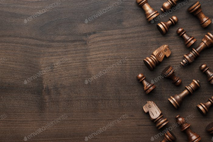Thumbnail for Chess Figures On Brown Wooden Table Background