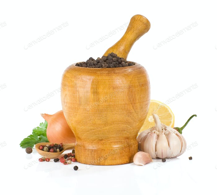 food ingredients and spice on white