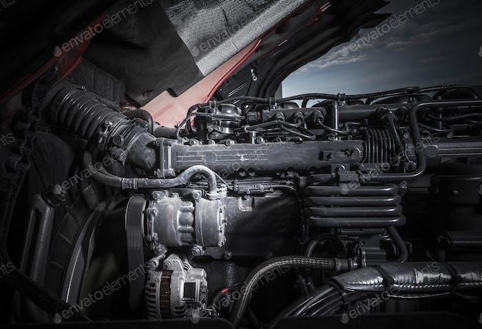 Semi Truck Diesel Engine