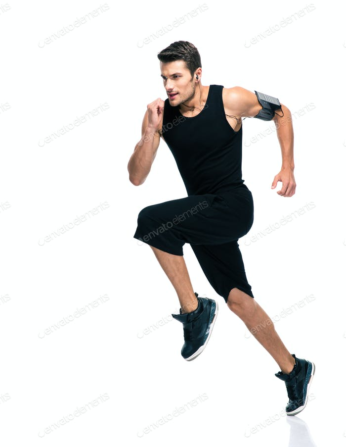 Fitness man running isolated