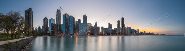 Chicago, Illinois, USA downtown skyline from Lake Michigan