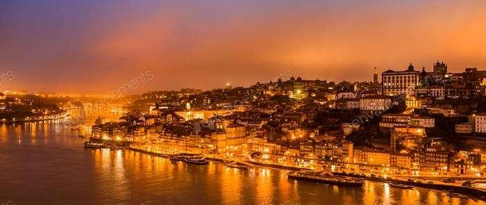 Panorama of old city Porto at sunset.
