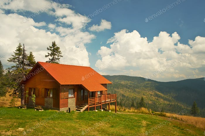 Cabin on mountains