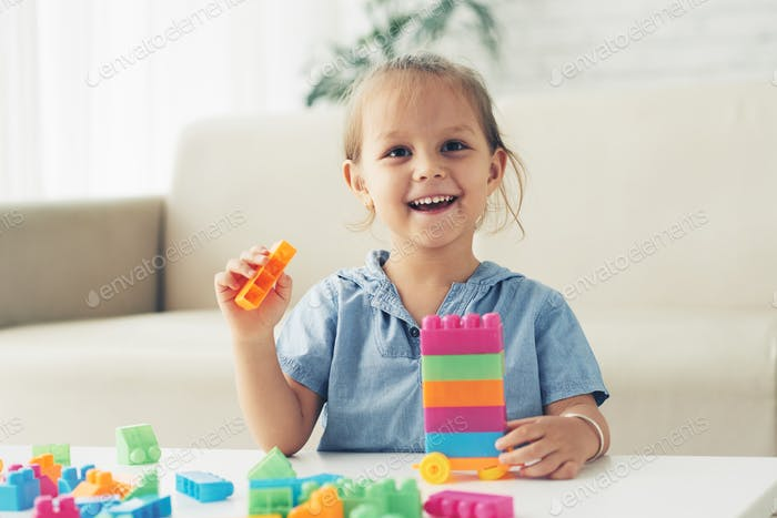 Playing with plastic blocks
