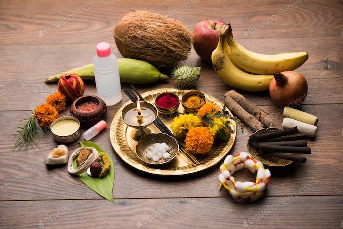 Pooja elements for worshipping Hindu God