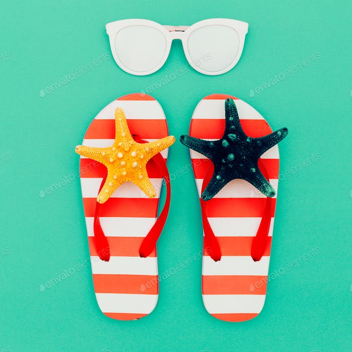 Flip-flops and sunglasses. Vacation. Summer. Minimal beach style