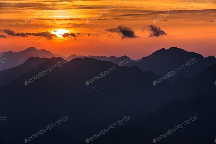 Sunset over the Fagaras Mountains, Southern Carpathians