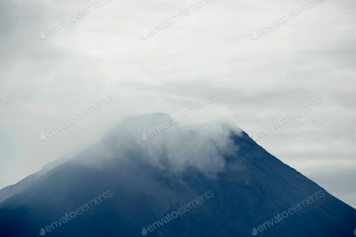 Volcano Top In Clouds